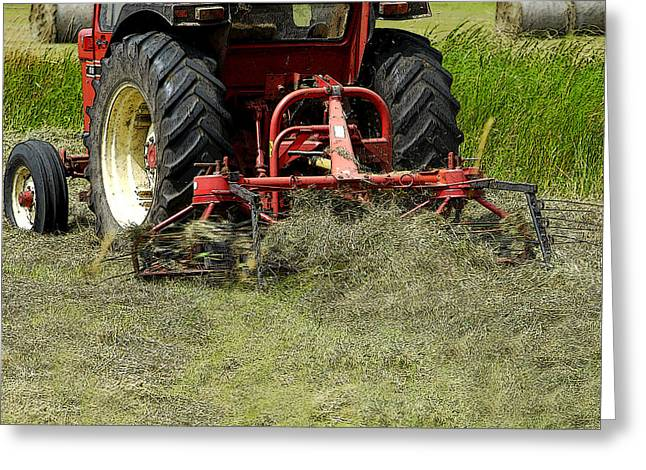 Bailing Hay Greeting Cards - Tractor Work Greeting Card by Phil  Gough
