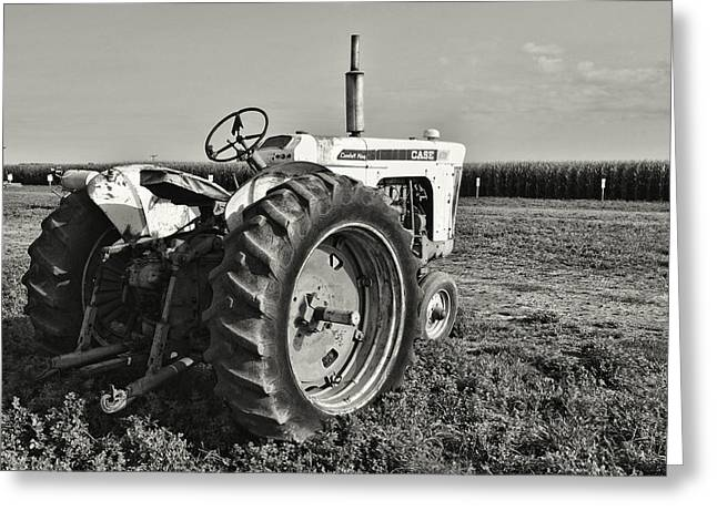 Tom Druin Greeting Cards - Tractor...black And White Greeting Card by Tom Druin