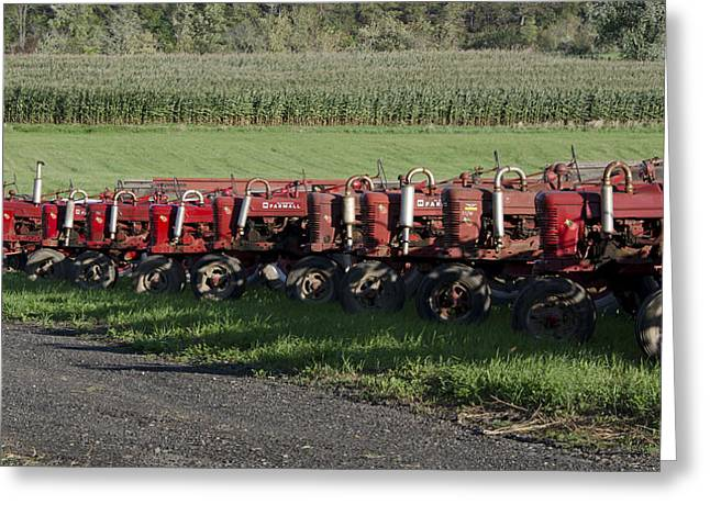 Connecticut Farms Greeting Cards - Tractors in Rural Connecticut Greeting Card by Brendan Reals
