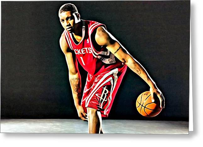 Orlando Magic Greeting Cards - Tracy McGrady Portrait Greeting Card by Florian Rodarte