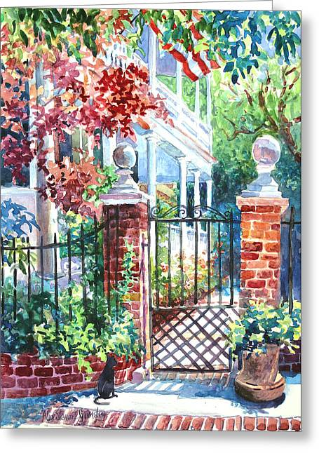 Charleston Greeting Cards - Tradd Street Tradition Greeting Card by Alice Grimsley
