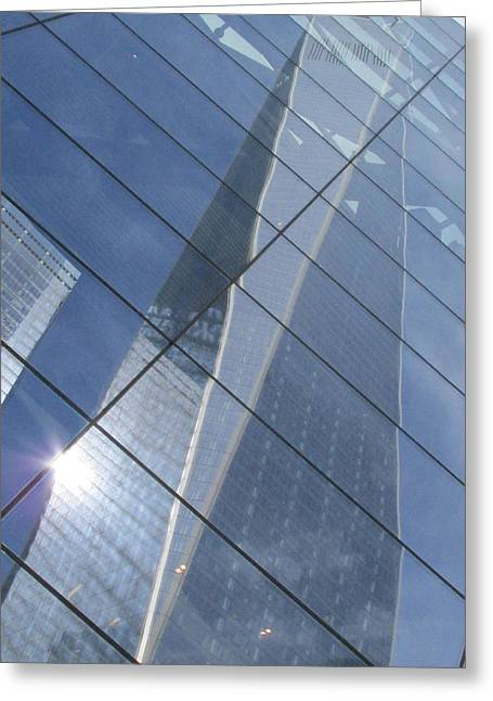 River View Greeting Cards - Trade Center Reflections Greeting Card by Steven Lapkin