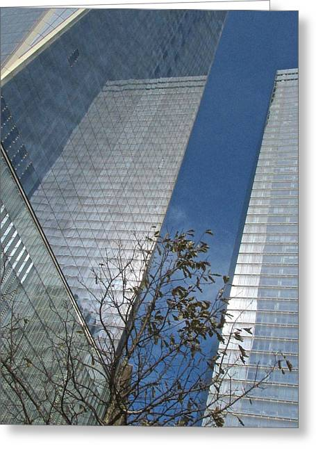 River View Greeting Cards - Trade Center Reflects Greeting Card by Steven Lapkin