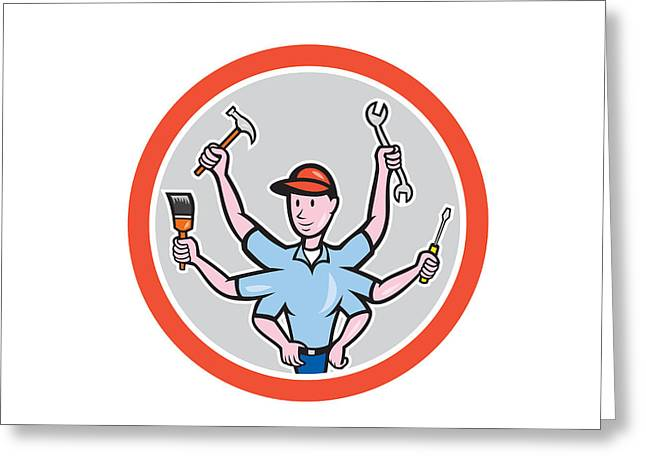 Tradesman Greeting Cards - Tradesman Worker Six Hand Cartoon Greeting Card by Aloysius Patrimonio