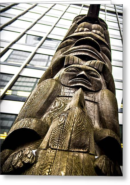 Ecru And Brown Greeting Cards - Tradition and Contemporary Totems Greeting Card by James Aiken