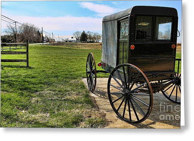 Traditional Amish Buggy Greeting Card by Lee Dos Santos
