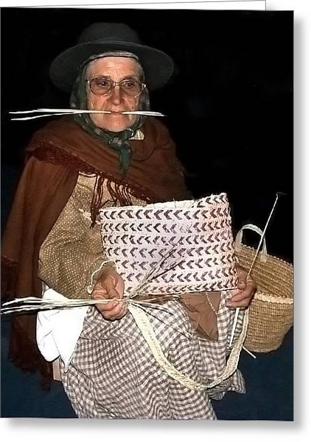 Basket Maker Greeting Cards - Traditional Basket Maker Greeting Card by Bill Marder