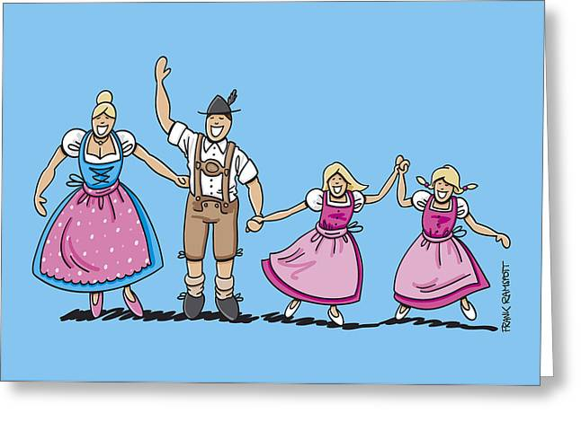 Vector Greeting Cards - Traditional Bavarian Family With Two Daughters Greeting Card by Frank Ramspott