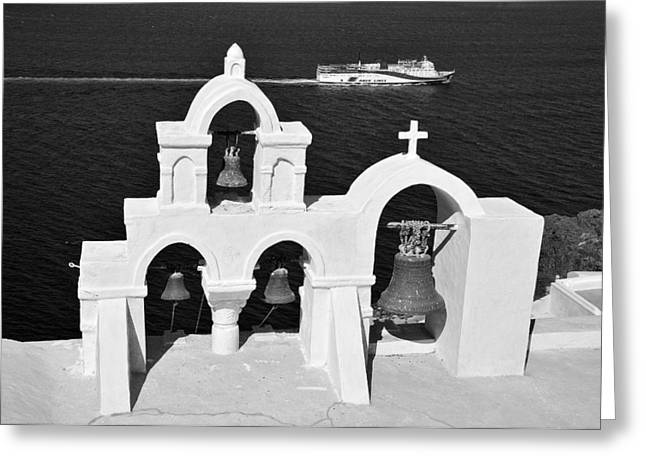 Greece Greeting Cards - Traditional belfry in Oia Greeting Card by George Atsametakis