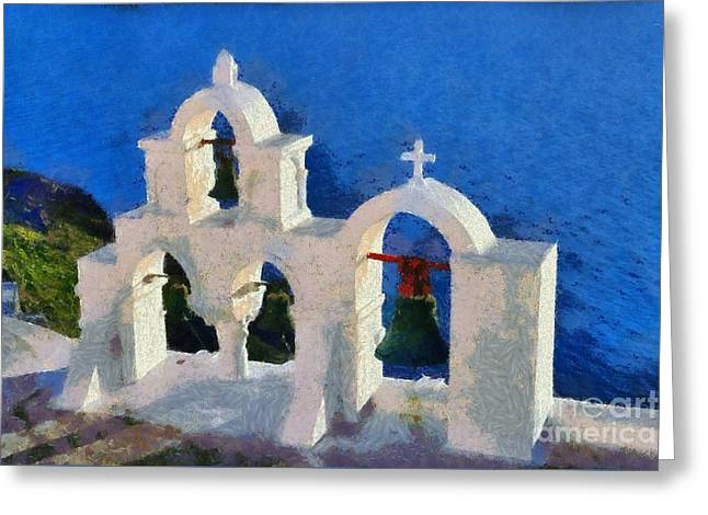 Cyclades Greeting Cards - Traditional belfry in Oia town Greeting Card by George Atsametakis