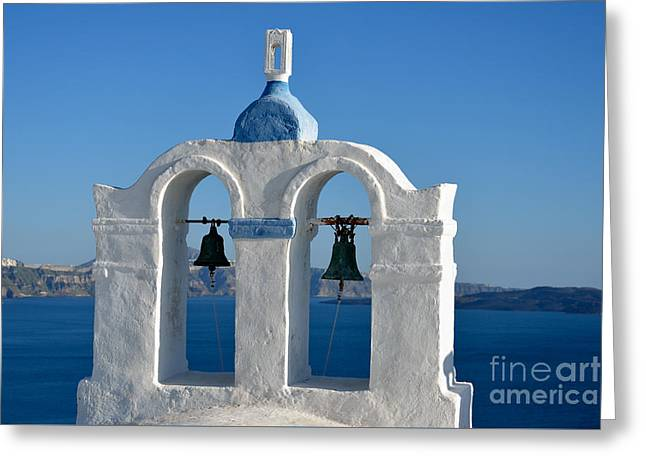 Traditional Belfry In Santorini Island Greeting Card by George Atsametakis