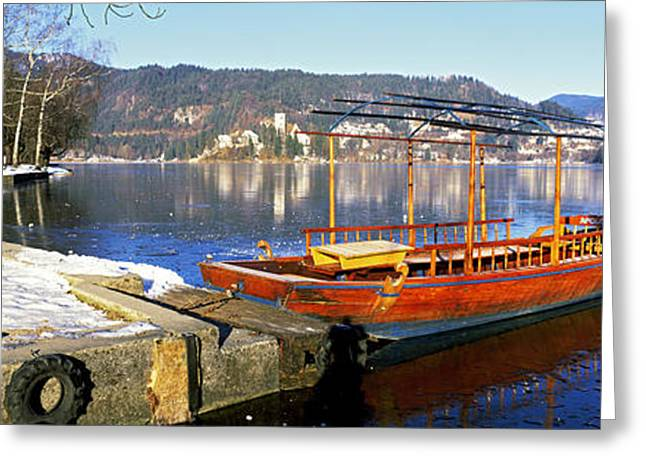 Bled Greeting Cards - Traditional Boat At The Lake Bled Greeting Card by Panoramic Images