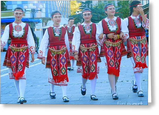 Blagoevgrad Greeting Cards - Traditional Bulgarian Ensemble Greeting Card by Violeta Ianeva