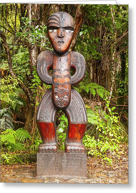 Maoris Greeting Cards - Traditional Carved Figure Waitakere New Zealand Greeting Card by Colin and Linda McKie