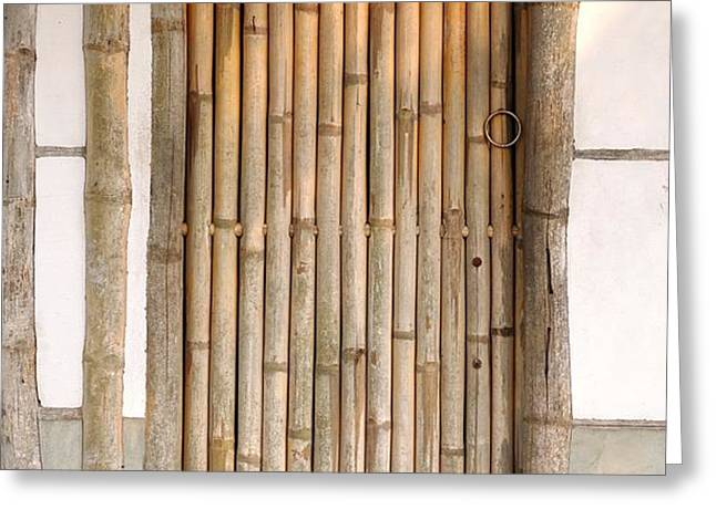 Traditional Chinese House with Bamboo Door Greeting Card by Yali Shi