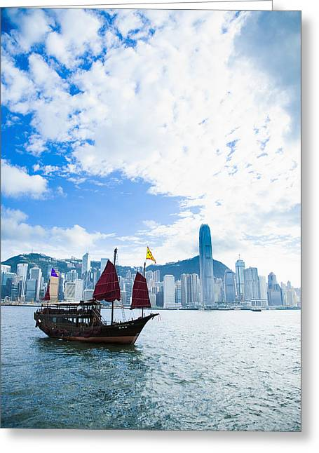 Administrative Greeting Cards - Traditional Chinese Junk Boat Greeting Card by Naki Kouyioumtzis