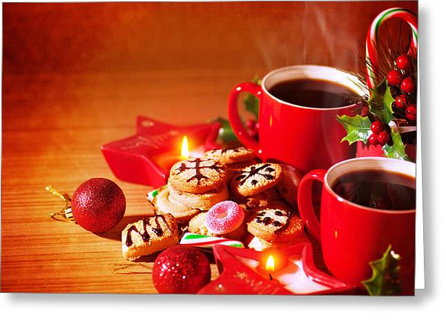 Indoor Still Life Greeting Cards - Traditional Christmas dessert Greeting Card by Anna Omelchenko