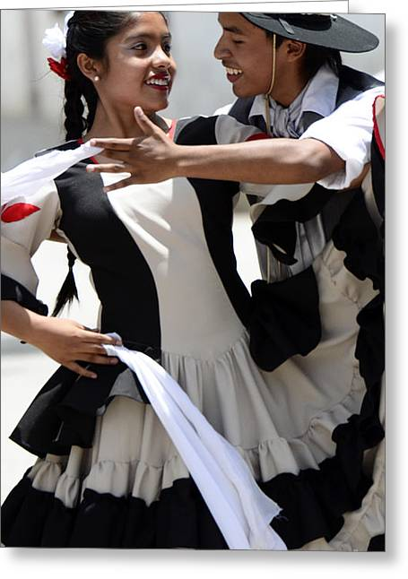 Traditional Dance Greeting Cards - Traditional Dancing Cachi Argentina  Greeting Card by Bob Christopher