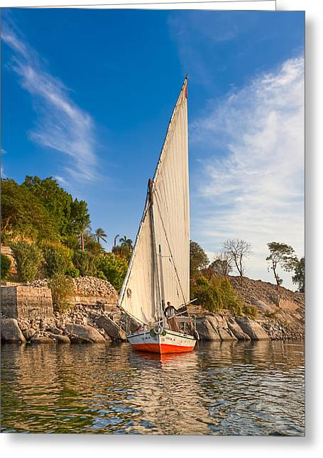 Boat Cruise Greeting Cards - Traditional Egyptian Sailboat on the Nile Greeting Card by Mark Tisdale