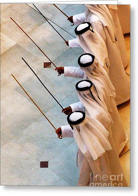Moral Greeting Cards - Traditional Emirati Mens Dance  Greeting Card by Andrea Anderegg