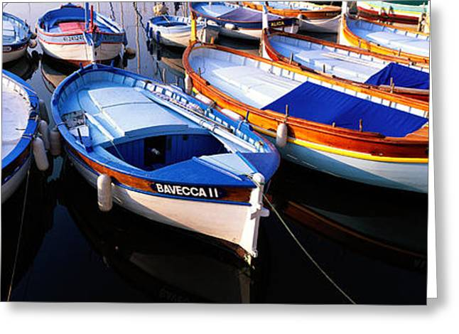 Boats In Harbor Greeting Cards - Traditional Fishing Boats Greeting Card by Panoramic Images