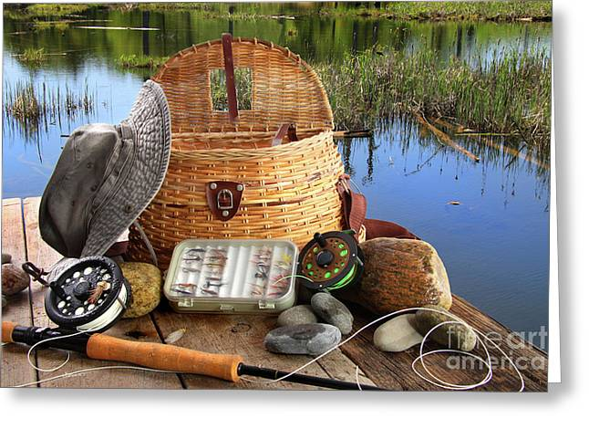 Barbs Greeting Cards - Traditional fly-fishing rod with equipment  Greeting Card by Sandra Cunningham