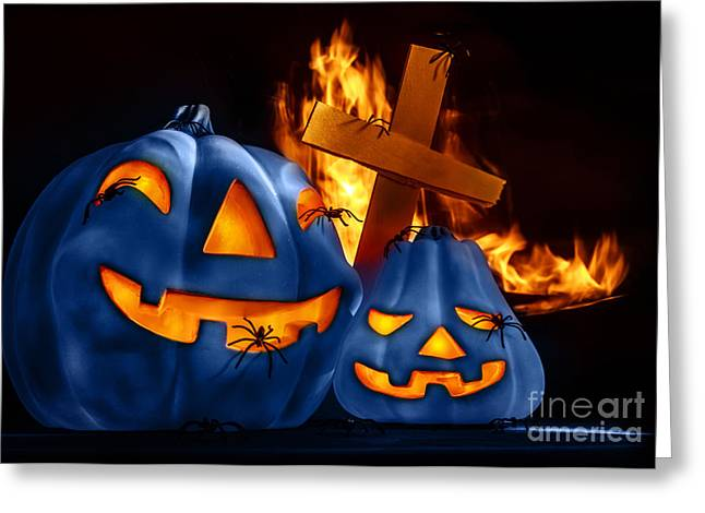 Jackolanterns Greeting Cards - Traditional Halloween decorations Greeting Card by Anna Omelchenko