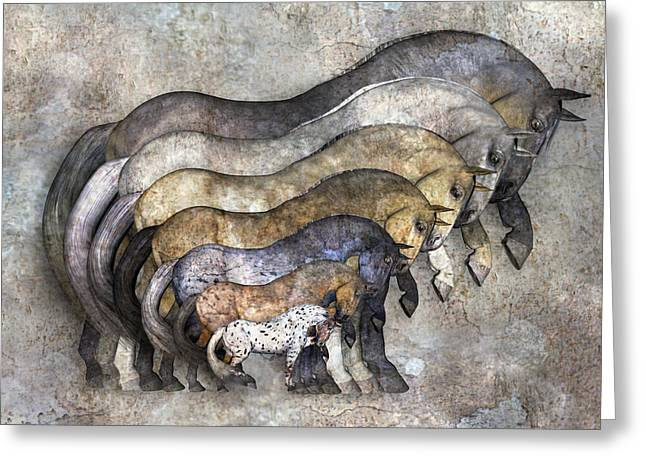 Family Walks Mixed Media Greeting Cards - Traditional Horses Greeting Card by Betsy C  Knapp