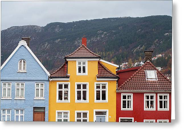 Facades Pyrography Greeting Cards - traditional houses in Bergen Norway Greeting Card by Nerijus Juras