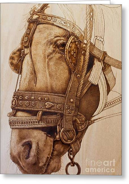 Horses Pyrography Greeting Cards - Traditional IDEA Greeting Card by Qasir Z Khan