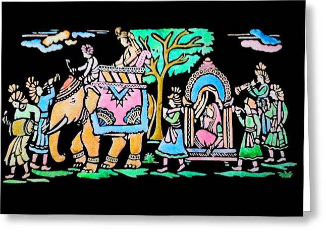 India Tapestries - Textiles Greeting Cards - Traditional Indian Ancient Wedding Procession  Emboss Painting Greeting Card by Bhavana Menon