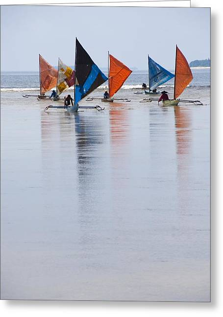 Traditional Indonesian Sailing Boats Greeting Card by Science Photo Library