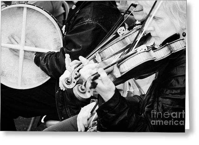 Session Musician Greeting Cards - Traditional Irish Musicians Playing Outdoors At An Event Greeting Card by Joe Fox
