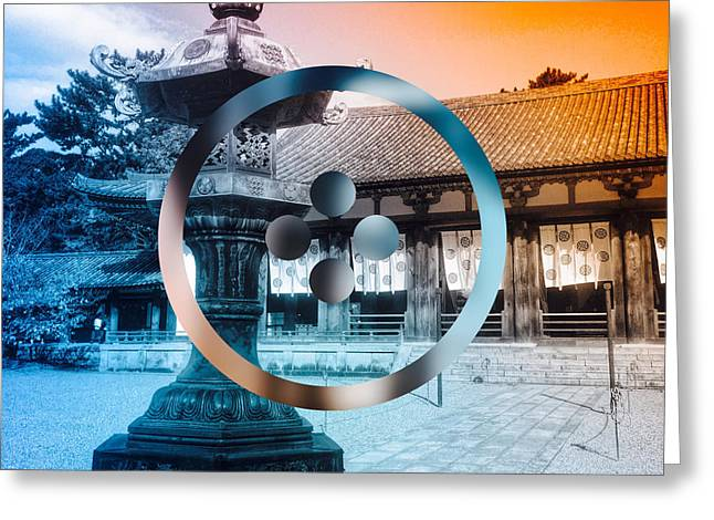Traditional Japanese Garden Lantern Greeting Card by Beverly Claire Kaiya