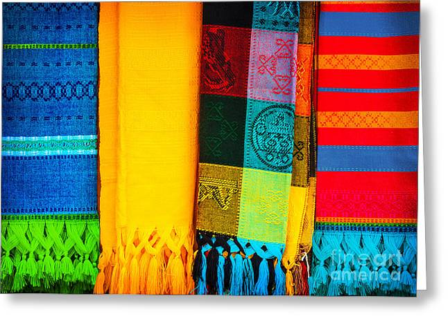 Neckerchief Greeting Cards - Traditional mexican neckerchief Greeting Card by Anna Omelchenko
