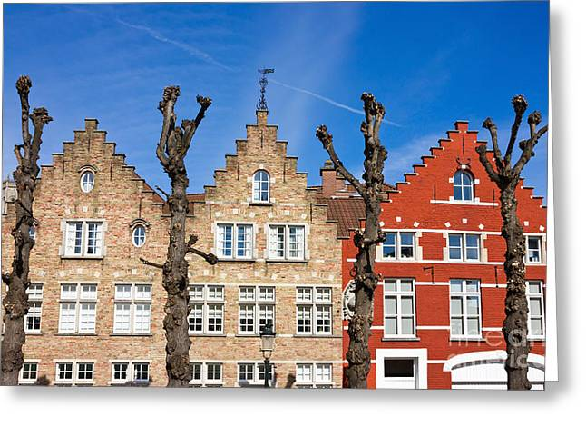 Simons Town Greeting Cards - Traditional old Belgium House Facades in Bruges Greeting Card by Kiril Stanchev