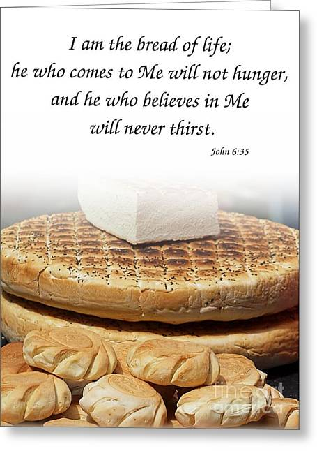 Loaf Of Bread Greeting Cards - Traditional Old-Fashioned Bread and Bible Verse Greeting Card by Yali Shi
