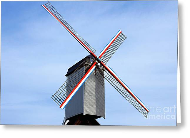 Rotate Greeting Cards - Traditional old windmill in Belgium Greeting Card by Kiril Stanchev