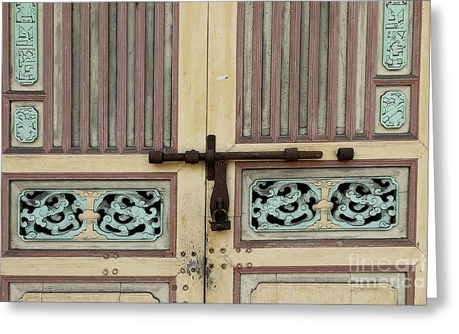 Wooden Sculpture Greeting Cards - Traditional Peranakan Door Motif  Greeting Card by Ivy Ho