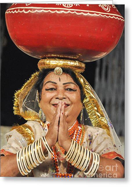Traditional Dance Greeting Cards - Traditional Rajasthani dancer  Greeting Card by Judith Katz