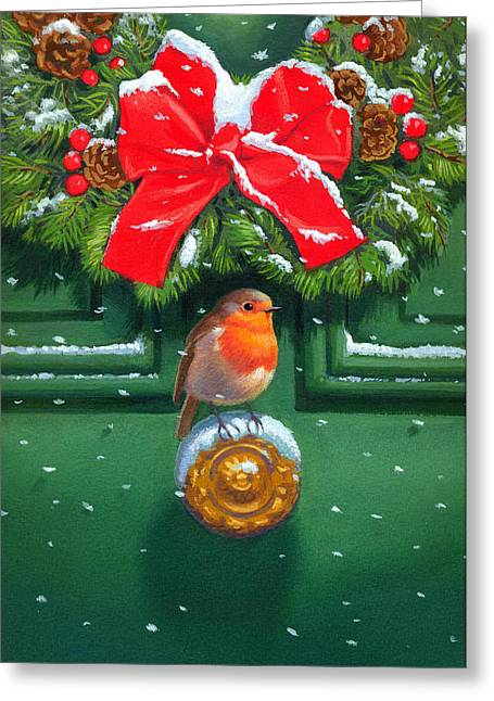 Wreath Paintings Greeting Cards - Traditional Robin Greeting Card by David Price