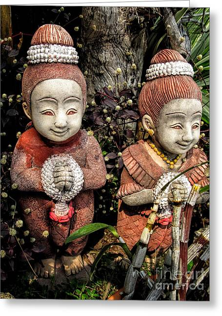 Ceramic Sculpture Greeting Cards - Traditional Thai Welcome Greeting Card by Adrian Evans