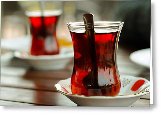 Share Experiences Greeting Cards - Traditional Turkish Tea Greeting Card by Suzanne Morris