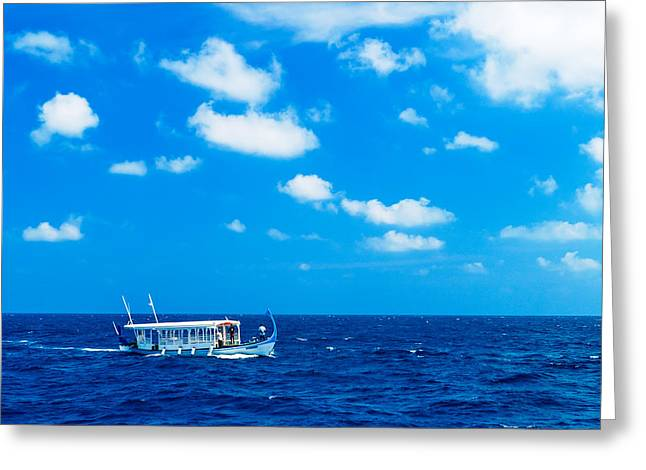 Wooden Ship Greeting Cards - Traditional Vintage Boat in Ocean Maldives Greeting Card by Rostislav Ageev