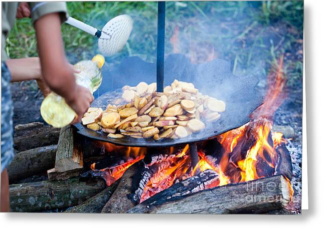 Barbecue Greeting Cards - Traditional way of preparing potatoes Greeting Card by Gabriela Insuratelu