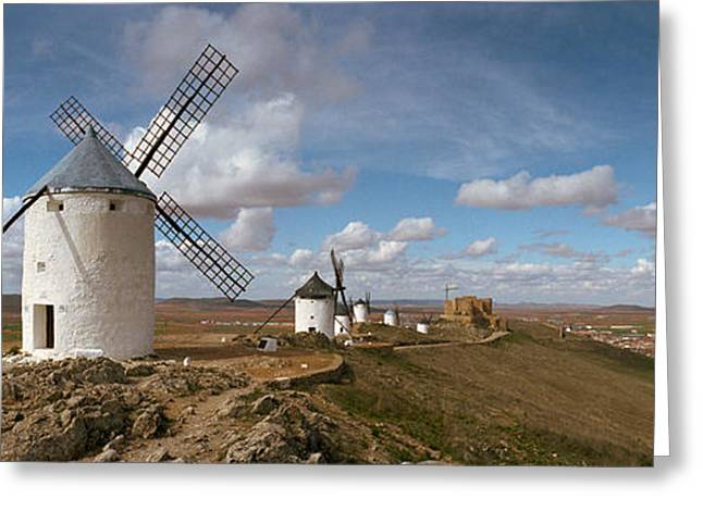 Castilla Greeting Cards - Traditional Windmill On A Hill Greeting Card by Panoramic Images