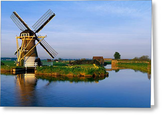 Environmental Conservation Greeting Cards - Traditional Windmill On The Waterfront Greeting Card by Panoramic Images