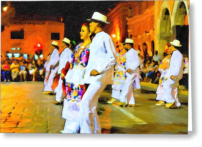 Traditional Yucatan Dancers Greeting Card by Mark E Tisdale