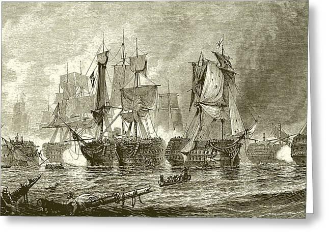 Battle Of Trafalgar Greeting Cards - Trafalgar Greeting Card by English School