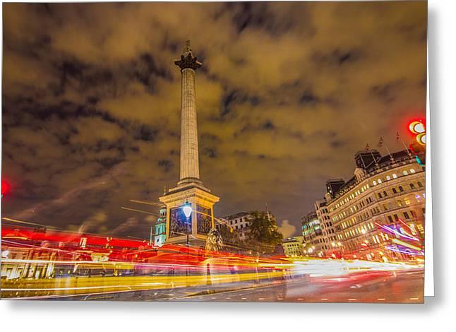 Trafalgar Greeting Cards - Trafalgar Light Trails Greeting Card by Dawn OConnor
